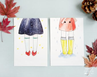"""Set of 2 illustrated postcards """"Shoes"""" by Esencia custome"""