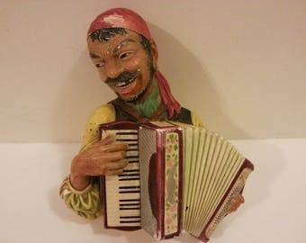 Bossons England 1969 Man with Accordion Wall Hanging