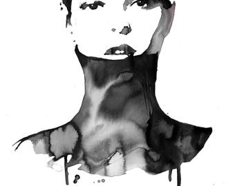 The Turtleneck, print from original watercolor fashion illustration by Jessica Durrant