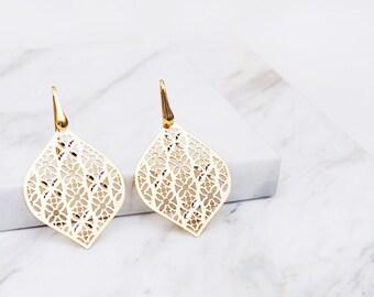 Filigree Crystals gold vermeil Earrings