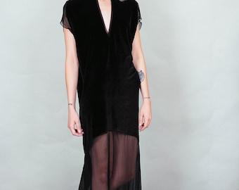 Gebannt - schwarzem Samt und schiere Maxi Kleid mit Oberschenkel Schlitzen tiefer v-Ausschnitt