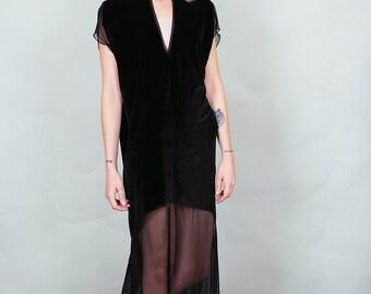 Spellbound - black velvet and sheer maxi dress with thigh slits deep v-cut