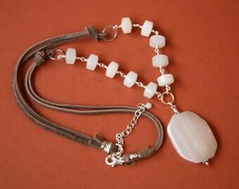 Light Pastel Peach Quartz Pendant and Suede Cord Necklace
