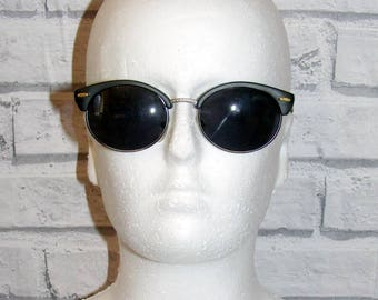 Vintage sunglasses, Vintage 80s deadstock matt black/pewter clubmaster sunglasses grey lenses (SG54)