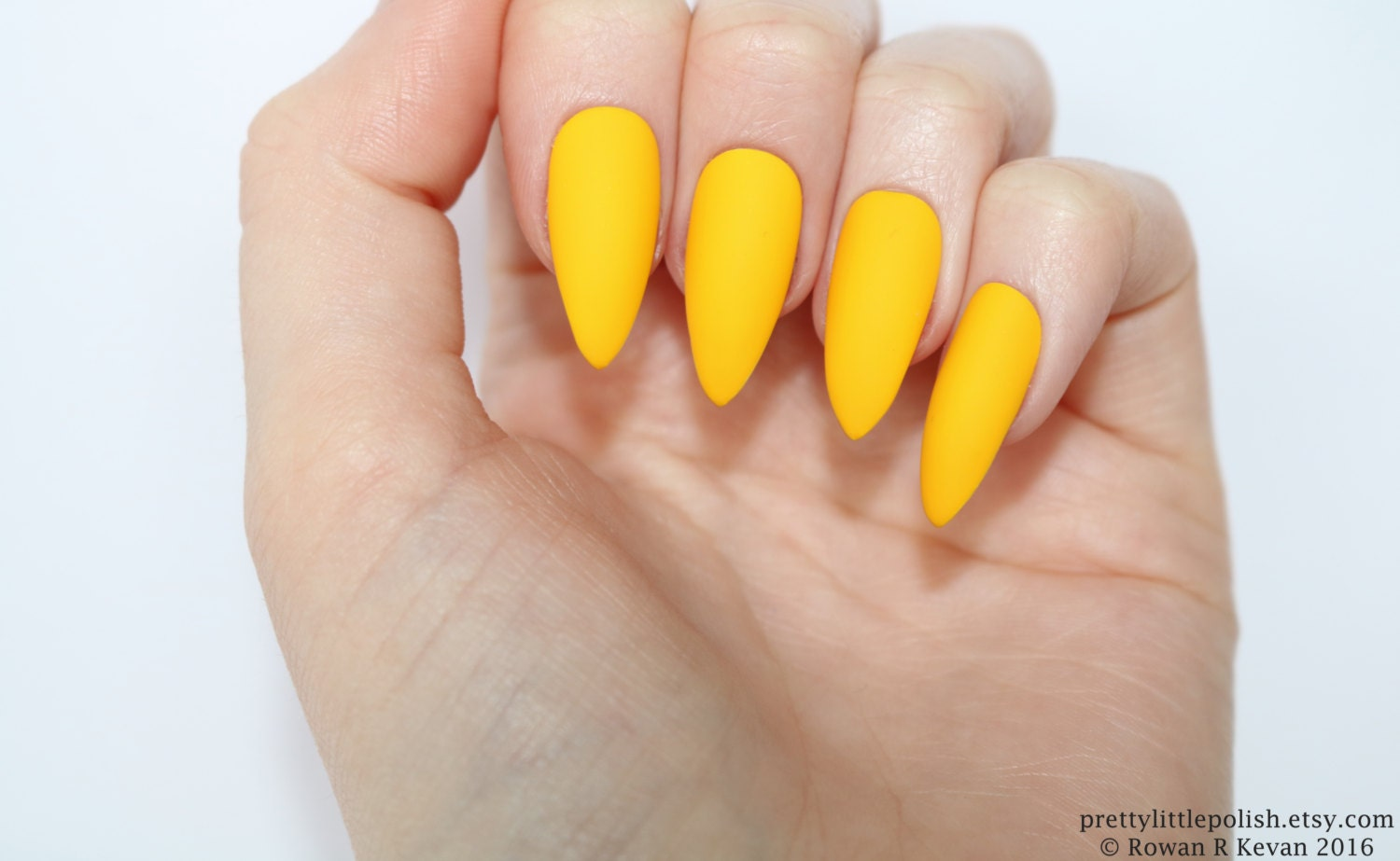 Stiletto nails Matte yellow stiletto nails Fake nails Press