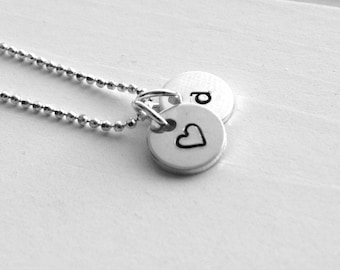 Sterling Silver Initial Charm Necklace, Letter d Necklace, Tiny Heart Necklace, Personalized Jewelry, Sterling Silver Jewelry