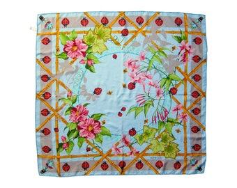 Vintage Must de Cartier 100% Silk Scarf Lady Bamboo / Flower Design
