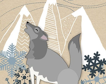 Winter Wolf Howling (Art Prints available in multiple sizes)