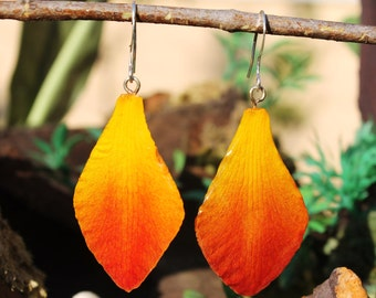 Orchid petal earrings - yellow
