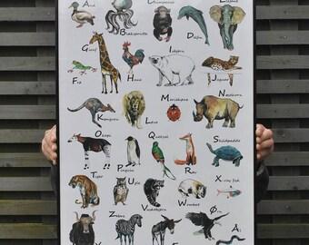 Danish alphabet, Аnimals alphabet, Alphabet print, Educational poster, Nursery decor, Аnimals