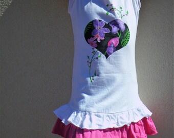 Robe fille, Tunique fille, peinte à la main, Tunique coeur, Tunique romantique, robe rose et blanche, mode plage, mode fille, robe à volants