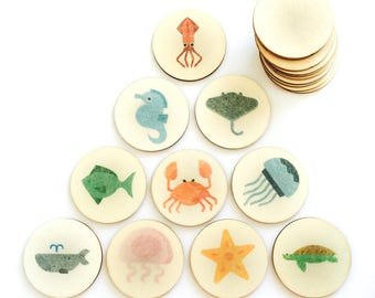 ocean animals - memory match | my little set | wooden game | story stones | memory match |