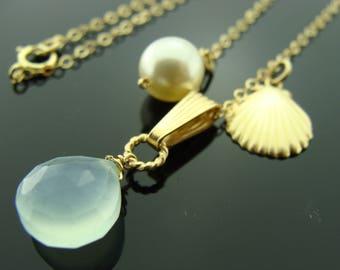 Aqua Blue Chalcedony 14K Gold Filled Beach Necklace