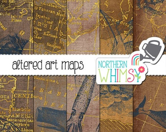 Map Digital Paper – nautical digital paper - altered art maps with ships and whales for digital scrapbooking or invitations - commercial use