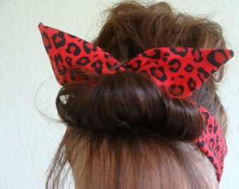 Dolly Bow Wire Headband Red Cougar Animal Print Rockabilly Pin Up Hair Accessory for  Teens Women Girls