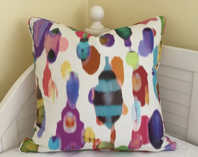 Robert Allen Tropic Storm in Molten Designer Pillow Cover with Piping - Square, Lumbar and Euro Sizes