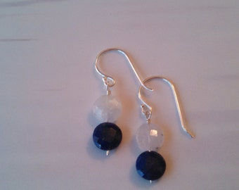 8mm Faceted Lapiz Lazuli and Moonstone Sterling Silver Earrings