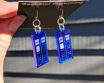 Tardis Lasercut Earrings, GeekStar Doctor Who Police Box Geek Jewelry