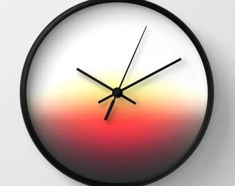 Clock, Orange Yellow Gray Clock, Muted Sunrise Clock, Orange Yellow Clock, Wall Clock, Home Decor, Kitchen Clock