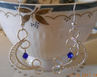 Silver and London Blue Swarovski Crystal Crescent Moon Earrings, OOAK, Handmade, Delicate, Gifts Under 10