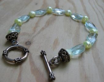 Insouciant Studios Moonlit Bracelet Aqua Quartz and Pearls
