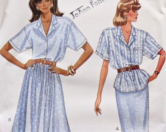 Butterick 6101 Vintage 1980's Sewing Pattern Misses' Loose Fitting Blouse Top Pattern Straight or Flared Skirt 80s Style Sz L- XL UNCUT