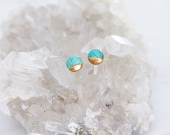 Turquoise, Hand Gilded, Tiny, Post Earrings, Round Studs
