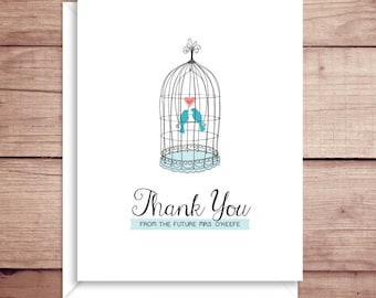 Birdcage Note Cards - Bridal Shower Folded Note Cards - Bridal Stationery - Bridal Shower Thank You Notes - Illustrated Note Cards