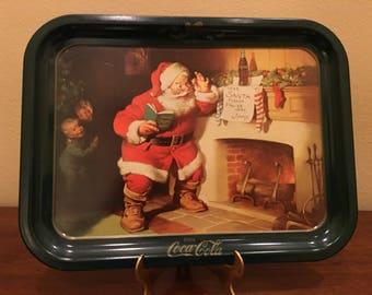 Coca Cola Metal Tray - Dear Santa Please Pause Here, Jimmy, 1989