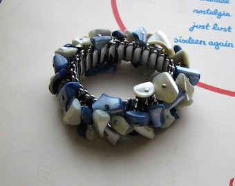 vintage MOP shell chip expansion bracelet, silver blue & white cha cha bracelet, signed JSFK made in Japan