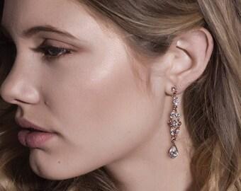 Rose Gold Earrings, Teardrop Crystal Earrings, Statement Jewelry, Wedding Accessories, Bridal Gifts for Her, Long drop Earrings, E067-RG