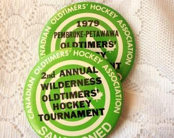 Set of 2 Oldtimers Hockey Pin Backs Vintage Hockey Tournament Pin Back C.O.H.A.