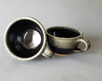 Set of 2 4 or 6 Handled Deep Sides Soup and Cereal Bowls Chowder Mug Handles Black  Speckle