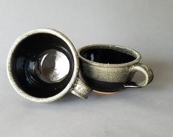 Set of 2 4 or 6 Handled Deep Sides Soup and Cereal Bowls Chowder Mug Handles Black  Speckle