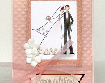 Handmade Wedding Card, Bridal Shower Card, Bride and Groom, Wedding Couple, Blush Wedding, Marriage, Congratulations, Newlyweds, Wedding