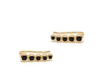 AYRA earrings - earrings 925 Silver, black stones