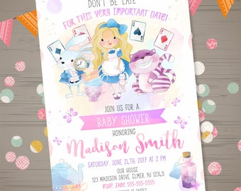 Alice in Wonderland Baby Shower Invitation Alice in Wonderland Tea Party Invitation Watercolor Girl Baby Shower Invitation Mad Hatter Invite