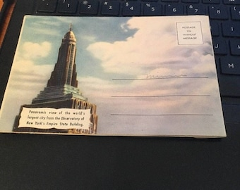 Vintage 1945 Empire State Building NY observatory picture fold out panoramic post card