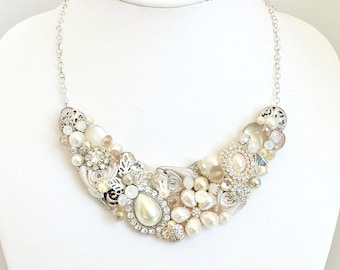 Champagne Necklace- Statement Necklace- Champagne Bridal Bib- Pearl Wedding Necklace- Bridal Necklace- Wedding Bib Necklace- Brass Boheme