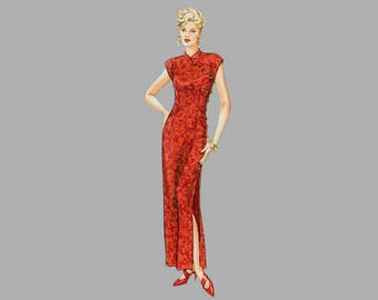 Oriental dress /pants pattern McCall's 7412 Cap sleeves Sheath styling Fitted waist Assymetrical front closing Bust 30-32 1/2 UNCUT FF