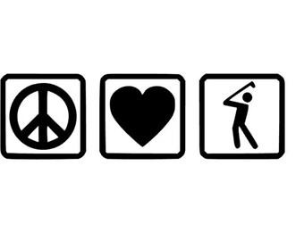 Peace Love Golf decal for car, truck, laptop, yeti, tumbler. Golf  Gift.