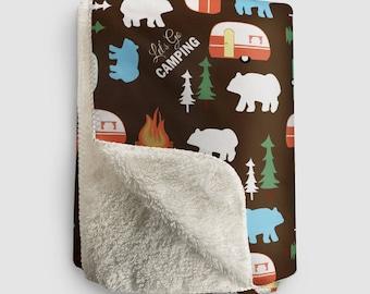 Let's Go Camping Retro Camper Pattern Fleece Sherpa Blanket - Chocolate Brown