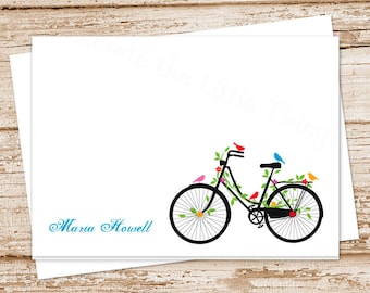 personalized bicycle note cards notecards . vintage bicycle stationery . womens stationary . bike birds cards . set of 8