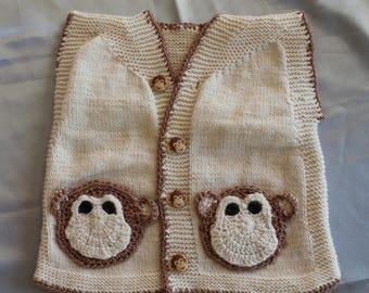 sweater vest, beige, birthstone, hand knitted