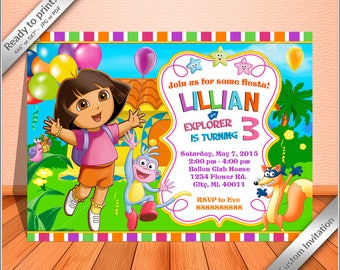 Dora invitations etsy 50 off sale dora the explorer birthday invitation dora the explorer birthday party invitation custom free thank you card filmwisefo