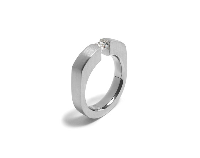 Trendy Mens Gemstone Ring with Tension Set White Sapphire in Stainless Steel