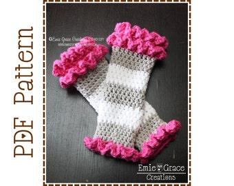 Leg Warmer Crochet Pattern, Ruffled Leggies, DOUBLE RUFFLE - pdf 708