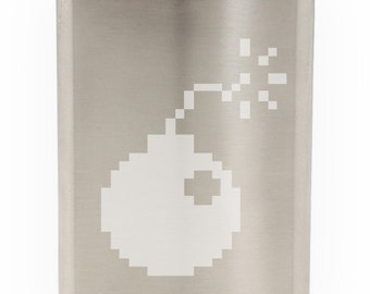 8 Bit Bomb Game Style Etched Hip Flask 8oz