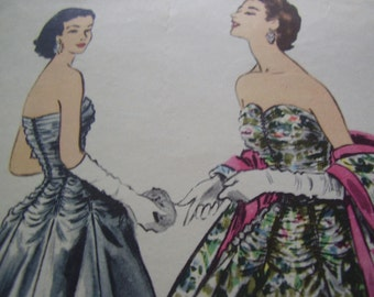 SALE Vintage 1950's McCall's 3101 Evening Dress and Stole Sewing Pattern, Size 14, Bust 32
