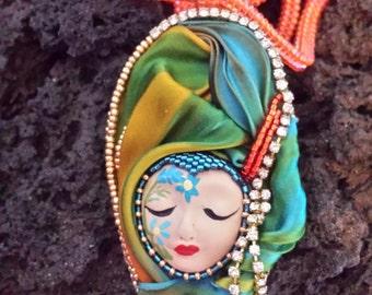 Silk shibori pendant